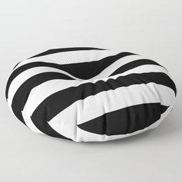 Stripe Black And White Horizontal Line Bold Minimalism Floor Pillow