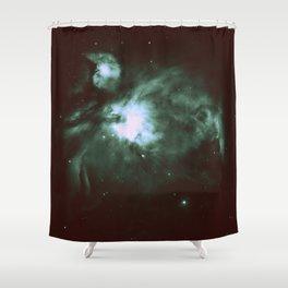 Dark Forest Green Teal Orion Nebula Shower Curtain