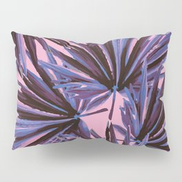 Tropical Palm Leaves in Electric Pink + Sea Blue Pillow Sham