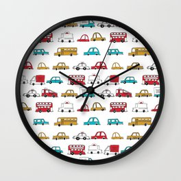 Cars trucks buses city highway transportation illustration cute kids room gifts Wall Clock