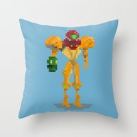samus Throw Pillows featuring Samus by GregSuj