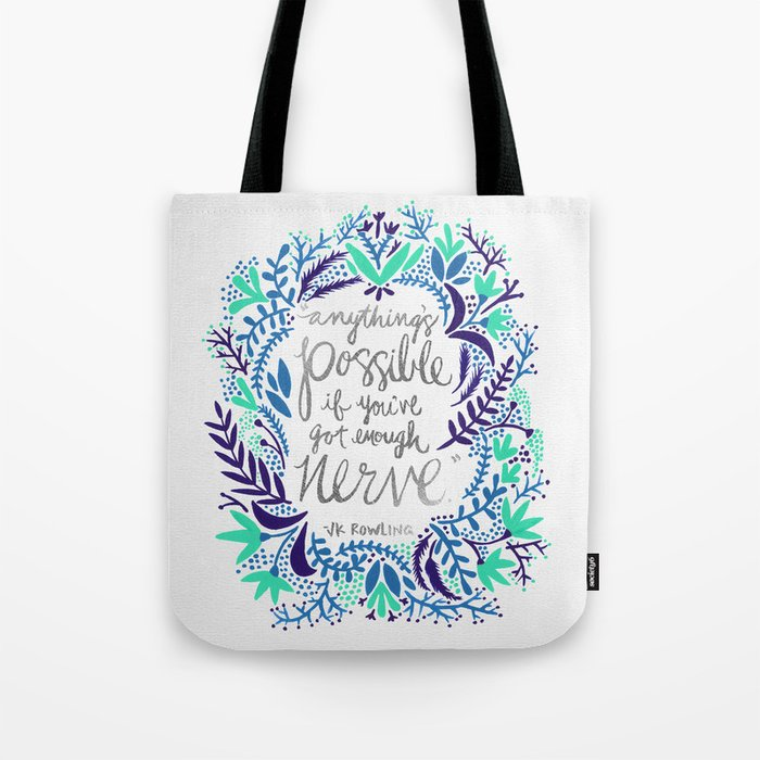 Anything's Possible – Silver & Blue Tote Bag