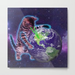 Cat destroying the world with eye laser Metal Print