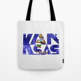 Kansas Typographic Flag Map Art Tote Bag