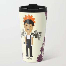 Charlie Chaplin - Modern Times - minimal movie Poster, cartoon version Travel Mug