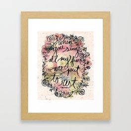 FEAR | Bethel Worship Lyric Print - Watercolor Hand Lettered Script Floral Weath Print  Framed Art Print