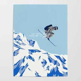 Airborn Skier Flying Down the Ski Slopes Poster