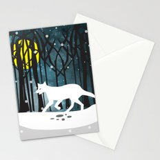 White Wolf at Midnight Stationery Cards