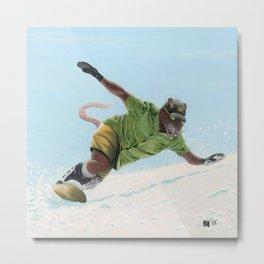 Wererat Snowboarder Snowboarding Winter Mountain Metal Print