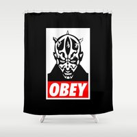 obey Shower Curtains featuring Obey Darth Maul - Star Wars by YiannisTees
