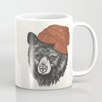 knitting Mugs featuring zissou the bear by Laura Graves