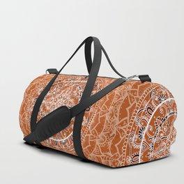 Detailed Burnt Orange Mandala Duffle Bag