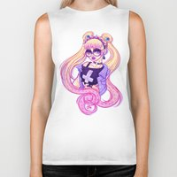 pastel goth Biker Tanks featuring Pastel Goth Usagi (Glasses ON) by Gunkiss