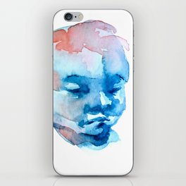 Blue and Red Portrait iPhone Skin