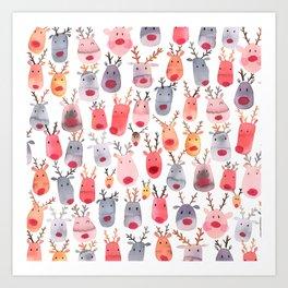 Christmas Winter Cute Reindeers Art Print