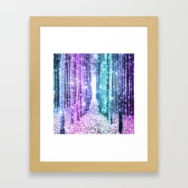 Magical Forest Lavender Aqua Teal Ombre Framed Art Print