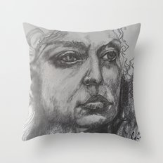 Pencil Sketch of Female Face/Portrait. Graphite Throw Pillow