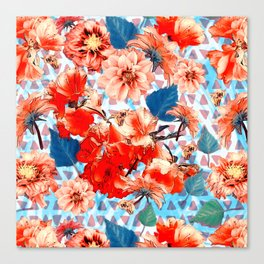 Geometric Flowers and Bees Canvas Print