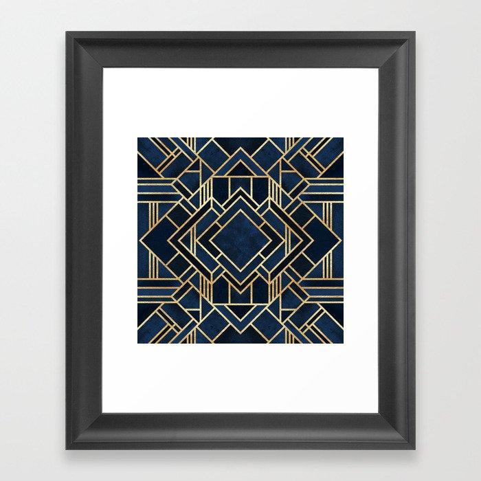 Art Deco Fancy Blue Gerahmter Kunstdruck