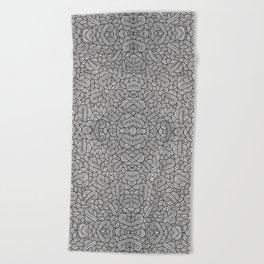 Black and white swirls doodles Beach Towel
