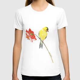 American Goldfinch and Red Flower, Minimalist Yellow Red Floral art T-shirt