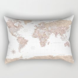 Highly detailed watercolor world map with Antarctica, Abey2 Rectangular Pillow