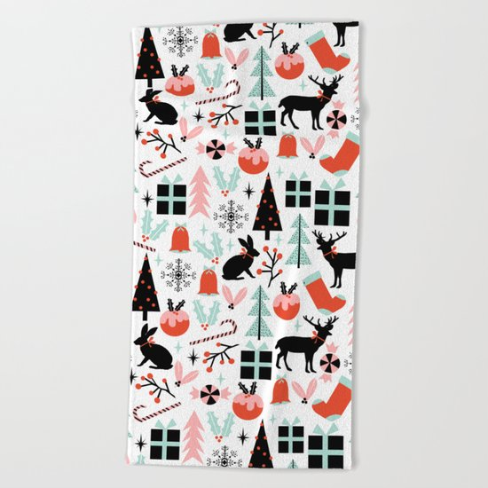Christmas ornaments minimal holly reindeer candy cane christmas tree pattern print Beach Towel