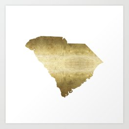 south carolina gold foil state map Art Print