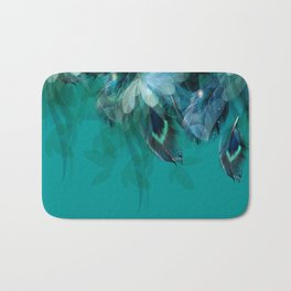 DREAMY FEATHERS & LEAVES - Deep Cyan Bath Mat