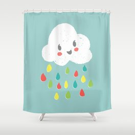 Rainbow Rain - Bright Shower Curtain