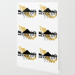 MEXICO CITY MEXICO SILHOUETTE SKYLINE MAP ART Wallpaper