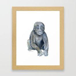 Baby Gorilla Watercolor Framed Art Print