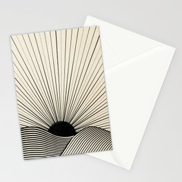 Radiant sun minimal landscape - black lines on neutral Stationery Cards