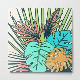 Tropical leaves cream Metal Print