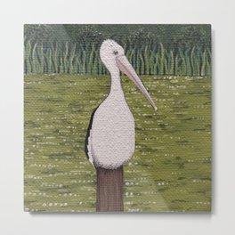 River Pelican Metal Print