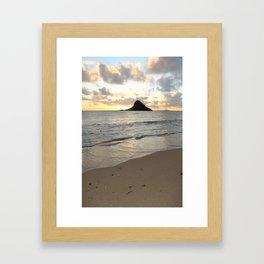 Mokoli'i Sunrise on Beach Framed Art Print