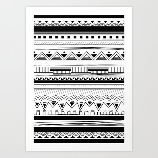 Tribal Pattern Black Art Print
