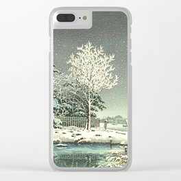 Tsuchiya Koitsu - Snow on the Sumida River - Japanese Vintage Woodblock Painting Clear iPhone Case