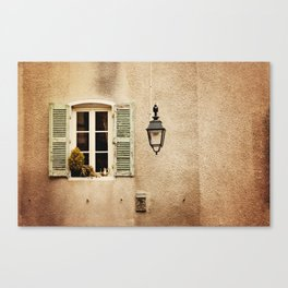 Window with Shutters and Teapot Canvas Print