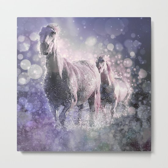 Blue Wild Horses Mixed Media Art Metal Print
