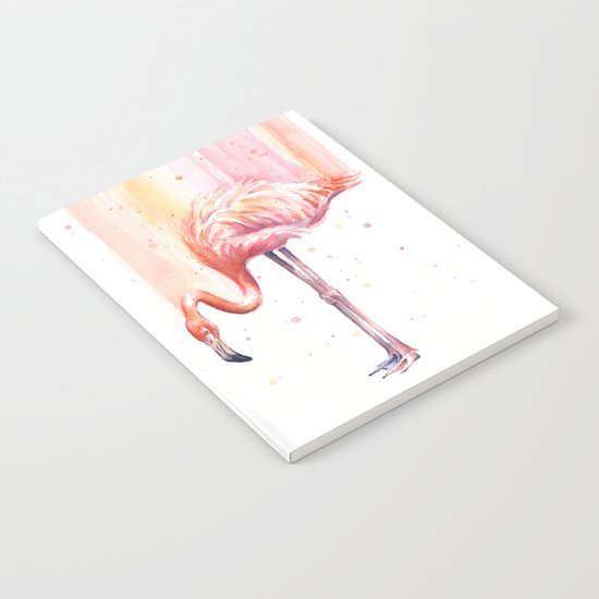 Flamingo Watercolor | Pink Rain Notebook