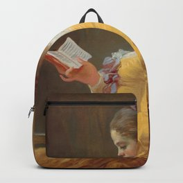 Young Girl Reading Painting by Jean-Honoré Fragonard Backpack