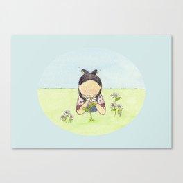 Gazing at Flowers Canvas Print