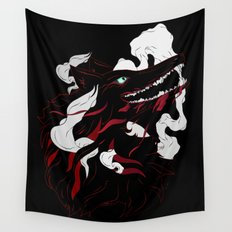 Black Evil Wolf Wall Tapestry