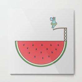 Watermelon Dive Metal Print