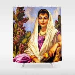 Jesus Helguera Painting of a Calendar Girl with Cream Shawl Shower Curtain