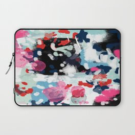 Aubrey - Abstract painting in bright colors pink navy white gold Laptop Sleeve