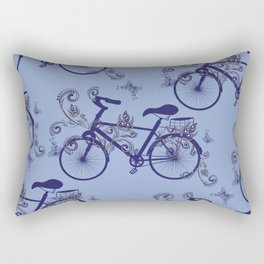 Bicycle and Floral Ornament Rectangular Pillow