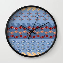 Inca Ethnic Pattern Fish and Birds Wall Clock