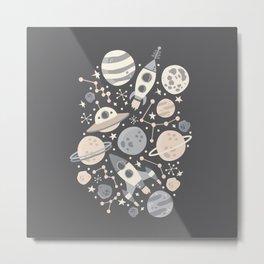 Space Black & White Metal Print